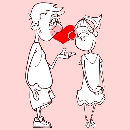 contour cartoon man declares his love to a cartoon girl Ilustração