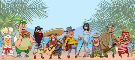 group of diverse cartoon characters stand on tropical shore 矢量图像