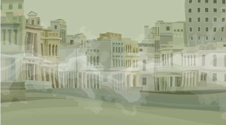 Background of a deserted cartoon old town with creeping fog. Vector image