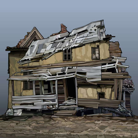 Cartoon old sprawled two story house stands on the ground. Vector image 일러스트