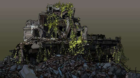 Dilapidated building overgrown with green plants in a pile of debris. Vector image