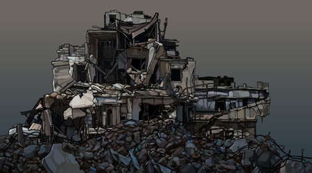 Dilapidated three story building in piles of destroyed bricks. Vector image 일러스트