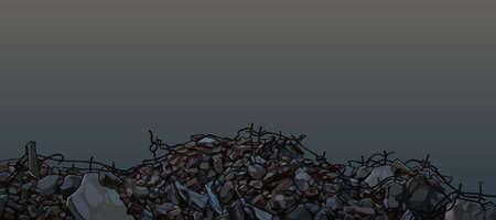 Piles of broken bricks stones and bent armatures. Vector image