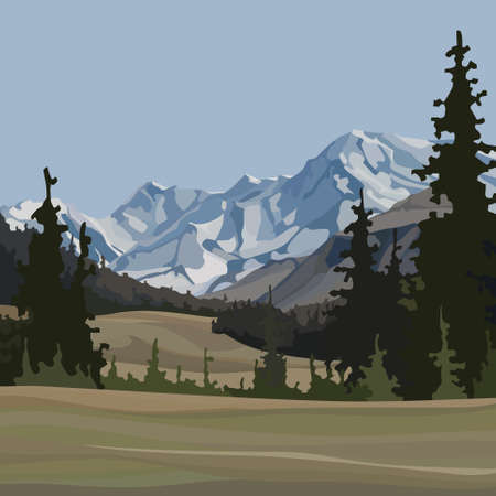 cartoon background of natural landscape with fir trees and snowy mountains