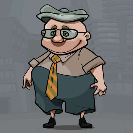 cartoon smiling elderly man with glasses and cap