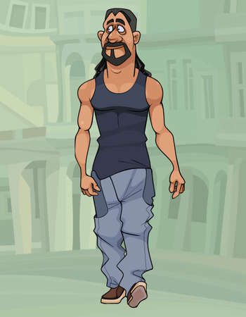 cartoon serious sporty man with long hair and beard walks around the city