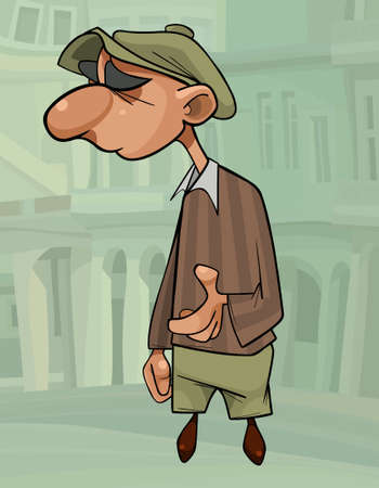funny cartoon man in retro cap looks away thoughtfully on the background of the city 矢量图像