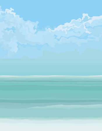 Background of turquoise sea and blue sky with clouds. Vector image