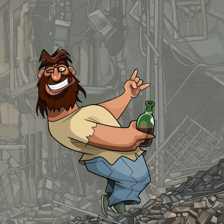funny cartoon shaggy bearded man with bottle in hand having fun in ruins