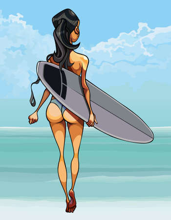 cartoon woman in swimsuit walks to the sea with surfboard