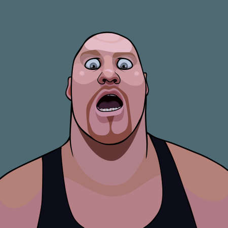 cartoon hefty bald man opened his mouth in surprise