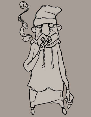 sketch of cartoon man smoking a cigarette 矢量图像