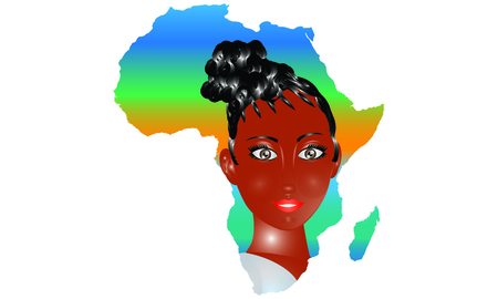 african lady: Cultural. Africa Map With African Lady illustration Illustration
