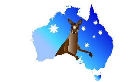 queensland: Australia Map with Kangaroo illustration