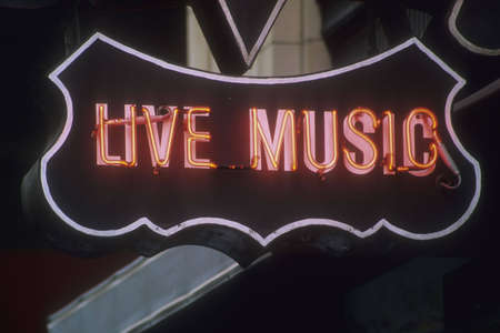 live entertainment: live music neon sign