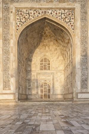 location shot: India,Uttar Pradesh,Agra,Calligraphy on Taj Mahal