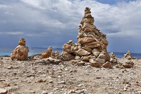 location shot: Spain,Mallorca,Stack of rocks at Cap de Ses Salines