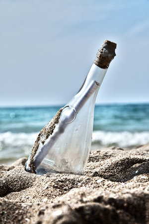 location shot: Spain,Palma,Mallorca,Message in bottle at Playa de Palma