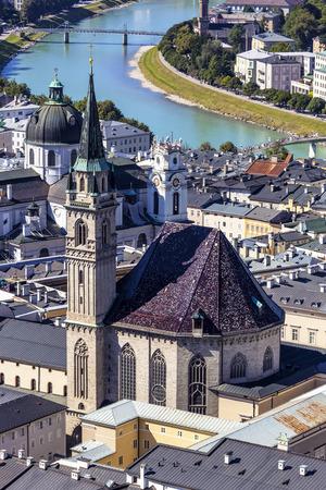 salzach: Austria,Salzburg,View from fortress of Hohensalzburg City over River Salzach LANG_EVOIMAGES