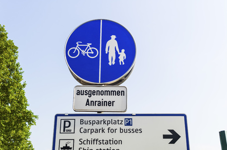 one lane road sign: Austria,Road sign for cyclists and pedestrians