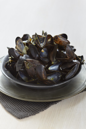 Leftovers mussel shells in bowl