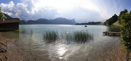 stormy waters: Austria, Upper Austria, Lake Mondsee, View to Drachenwand, stormy atmosphere, panorama
