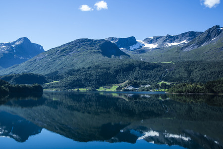 mountaintops: Norway, Alesund, landscape with fjord