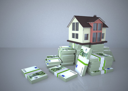 House and Euro notes, Illustration