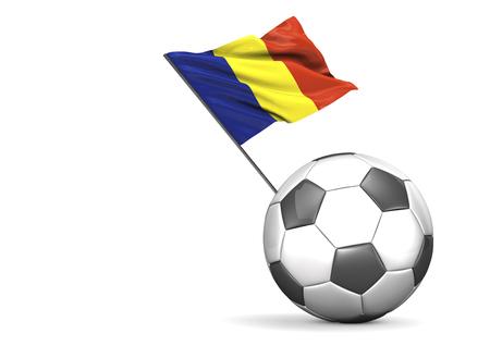 rumania: Flag of Romania on football, Illustration LANG_EVOIMAGES