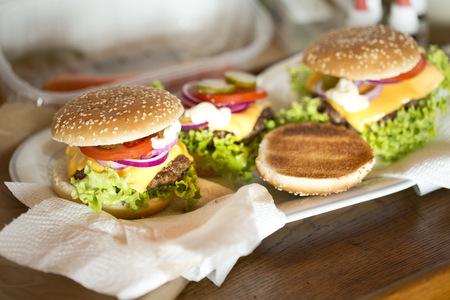 interiour shots: Homemade cheeseburgers LANG_EVOIMAGES