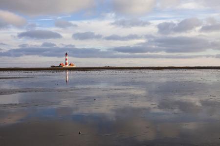 westerhever: Germany, Schleswig-Holstein, North Sea Coast, View of Westerheversand Lighthouse, Wattenmeer