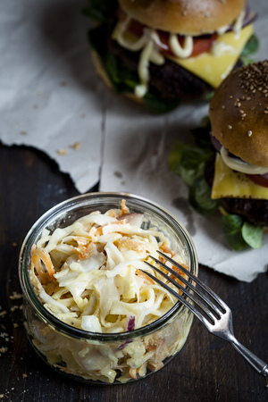 interiour shots: Homemade cheeseburger and coleslaw