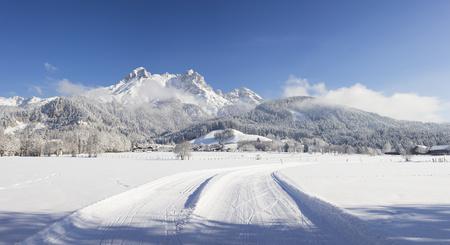 saalfelden: Austria, Salzburg State, Saalfelden, Steinerenes Meer, winter landscape, cross-country ski-tracks in snow
