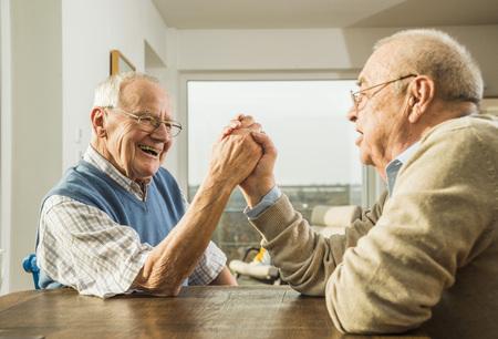 motivations: Two senior friends arm wrestling LANG_EVOIMAGES