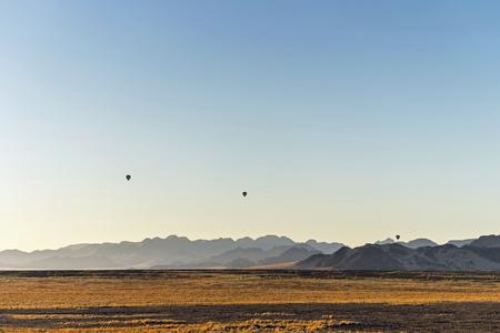 vlei: Africa, Namibia, Sossusvlei, Sunrise, Three air balloons