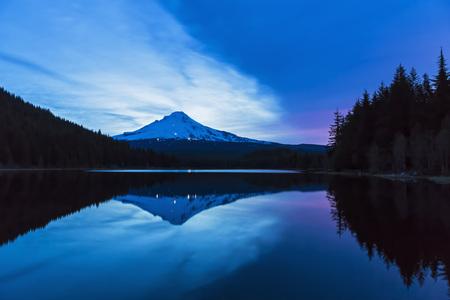 trillium: USA, Oregon, Mount Hood and Trillium Lake at dusk