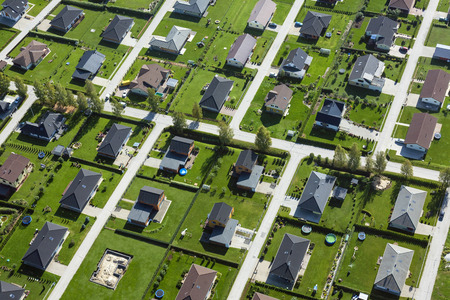 conformance: Estonia, Uelenurme near Tartu, buildings in suburban neighborhood