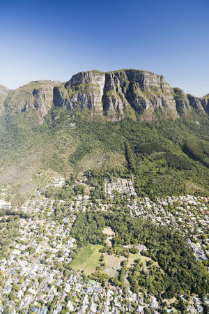 South Africa, aerial view of Newlands in Cape Town and Table Mountain National Park