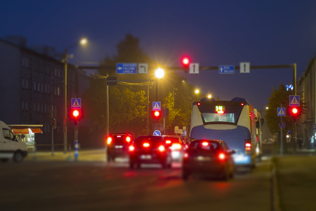 dont walk: Estonia, Paernu, vehicles stopping in front of red light