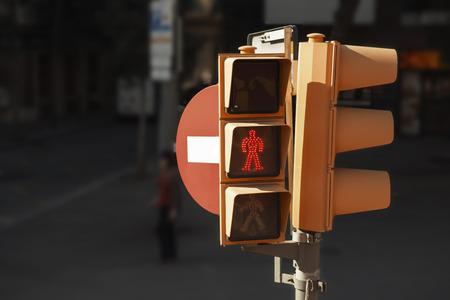 dont walk: Spain, Barcelona, pedestrian light with wait signal