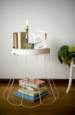 lamp shade: Upcycled old lampshade used as side table