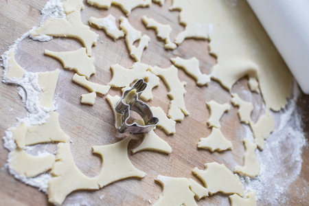 residue: Bunny shaped cookie cutter and remains of dough