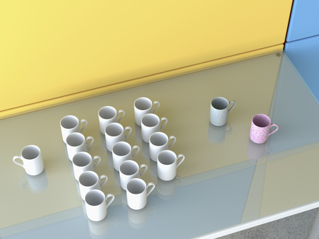conformance: Different coffee cups on glass table, 3D Rendering