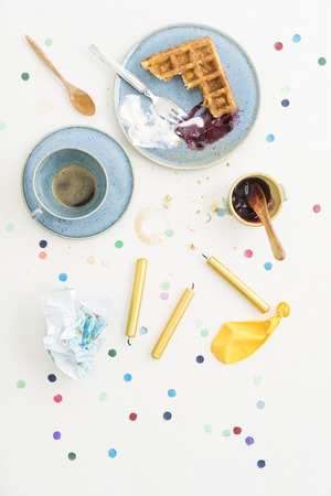 residue: Leftovers after celebration with Belgian waffles and coffee LANG_EVOIMAGES
