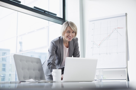 Female manager preparing presentaion
