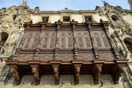 Peru, Lima, UNESCO world heritage site, Wooden oriel at the Archbishos palace