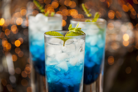 interiour shots: Fresh cocktail with blue curacao liquer
