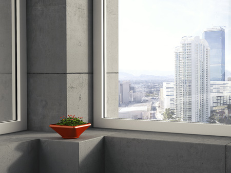 red clover: Red bowl of clover standing on window sill in a modern high-rise building, 3D Rendering LANG_EVOIMAGES