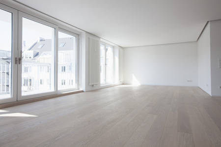 without windows: Empty living room in modern apartment