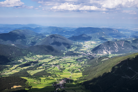 Austria, Lower Austria, Vienna Alps, View from Schneeberg to Puchberg am Schneeberg